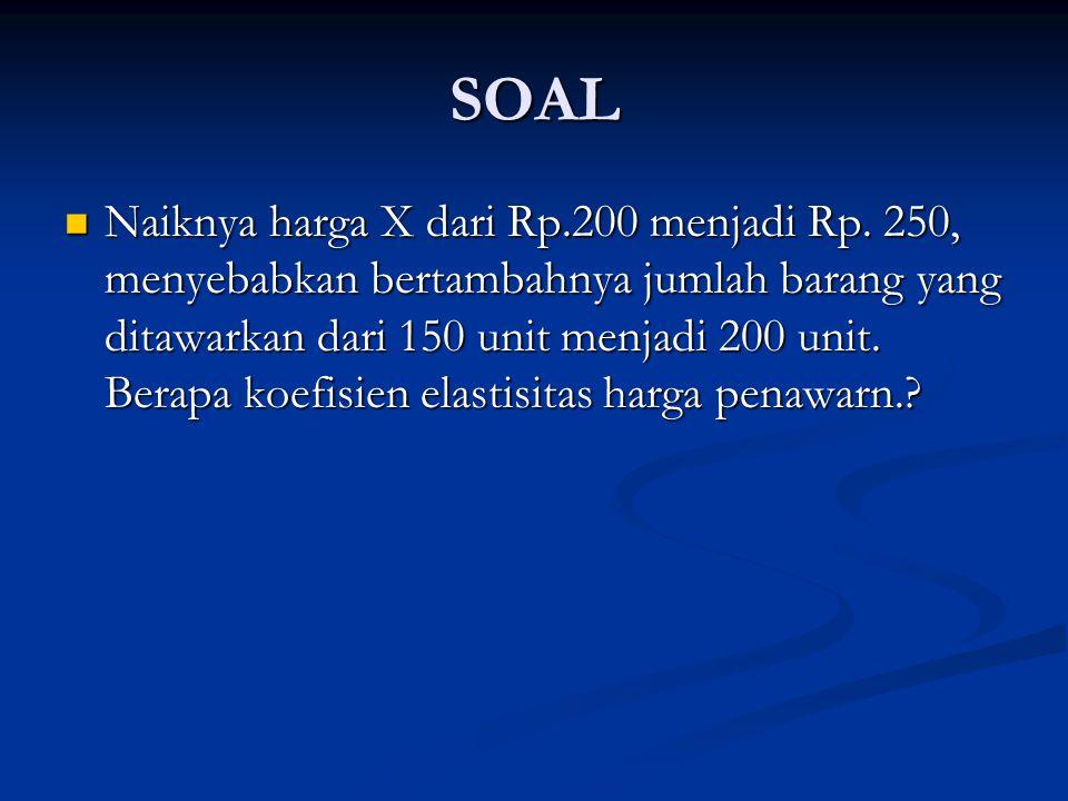 SOAL Naiknya harga X dari Rp.200 menjadi Rp. 250, menyebabkan bertambahnya jumlah barang yang ditawarkan dari 150 unit menjadi 200 unit. Berapa koefis