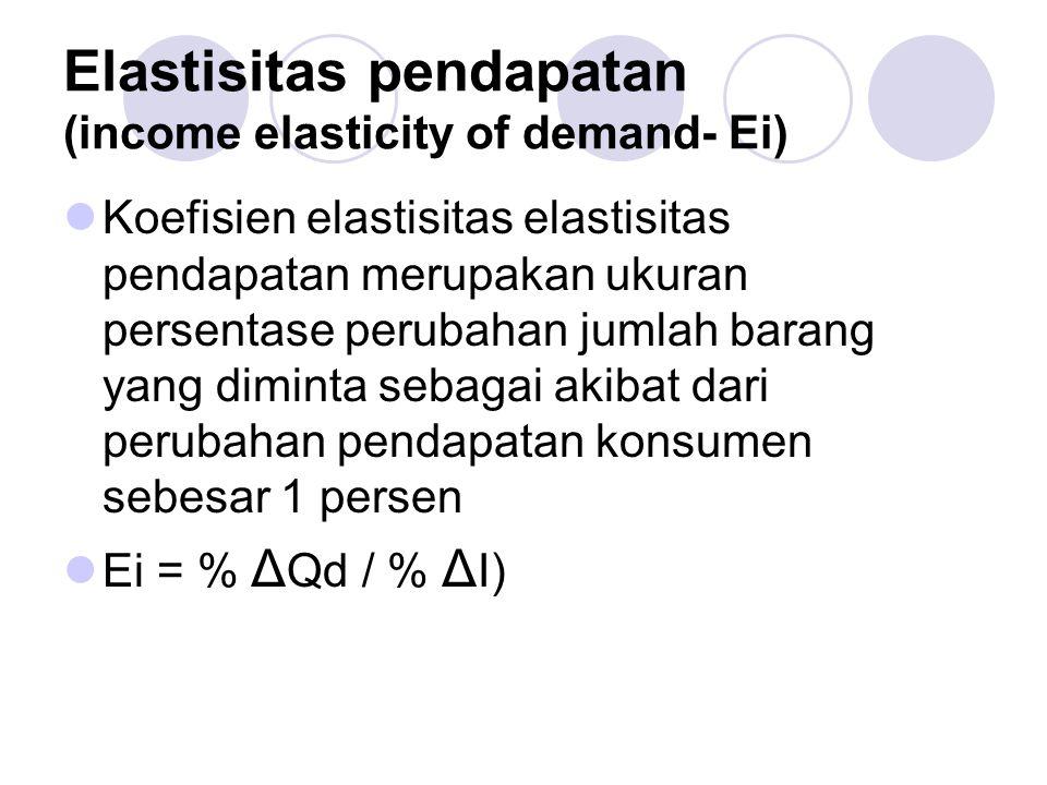 Elastisitas pendapatan (income elasticity of demand- Ei) Koefisien elastisitas elastisitas pendapatan merupakan ukuran persentase perubahan jumlah bar