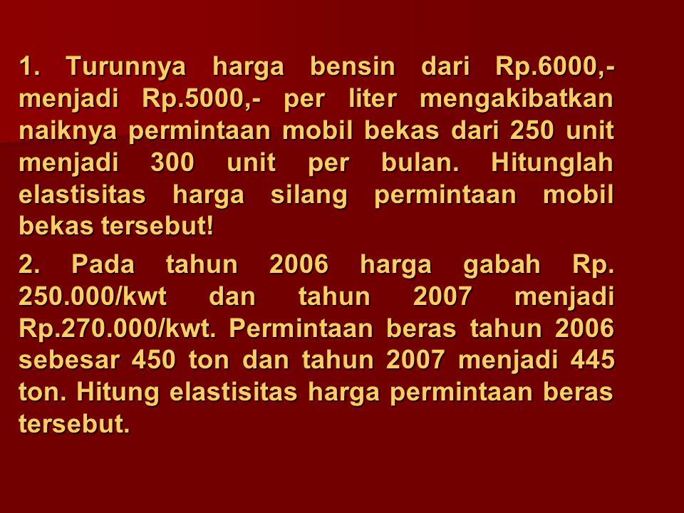 1. Turunnya harga bensin dari Rp.6000,- menjadi Rp.5000,- per liter mengakibatkan naiknya permintaan mobil bekas dari 250 unit menjadi 300 unit per bu