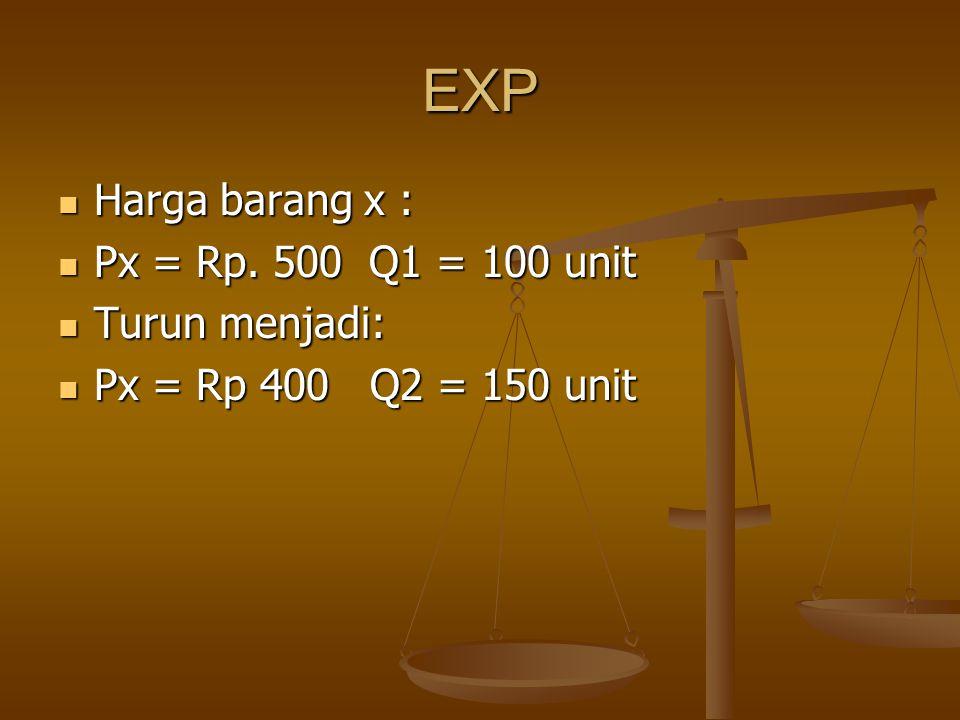 EXP Harga barang x : Harga barang x : Px = Rp. 500 Q1 = 100 unit Px = Rp. 500 Q1 = 100 unit Turun menjadi: Turun menjadi: Px = Rp 400 Q2 = 150 unit Px