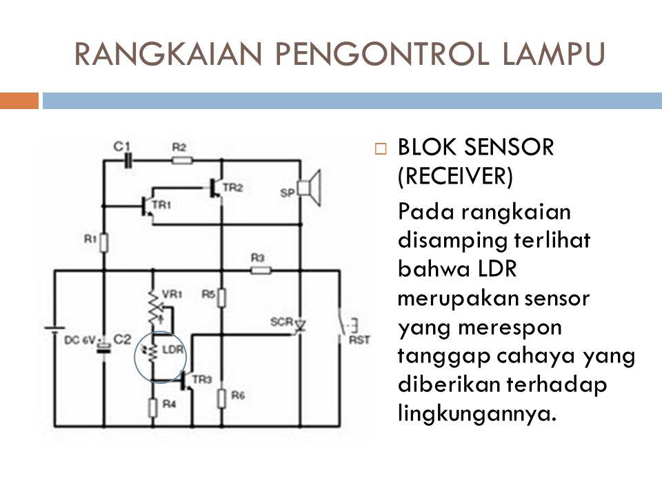 RANGKAIAN PENGONTROL LAMPU  BLOK SENSOR (RECEIVER) Pada rangkaian disamping terlihat bahwa LDR merupakan sensor yang merespon tanggap cahaya yang dib