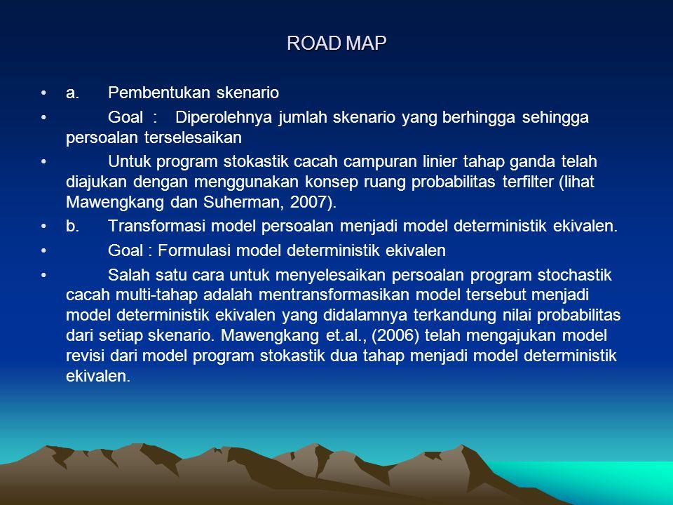 ROAD MAP a. Pembentukan skenario Goal :Diperolehnya jumlah skenario yang berhingga sehingga persoalan terselesaikan Untuk program stokastik cacah camp