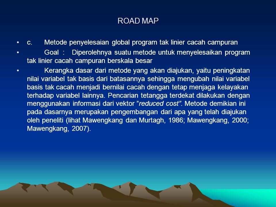 ROAD MAP c.Metode penyelesaian global program tak linier cacah campuran Goal : Diperolehnya suatu metode untuk menyelesaikan program tak linier cacah