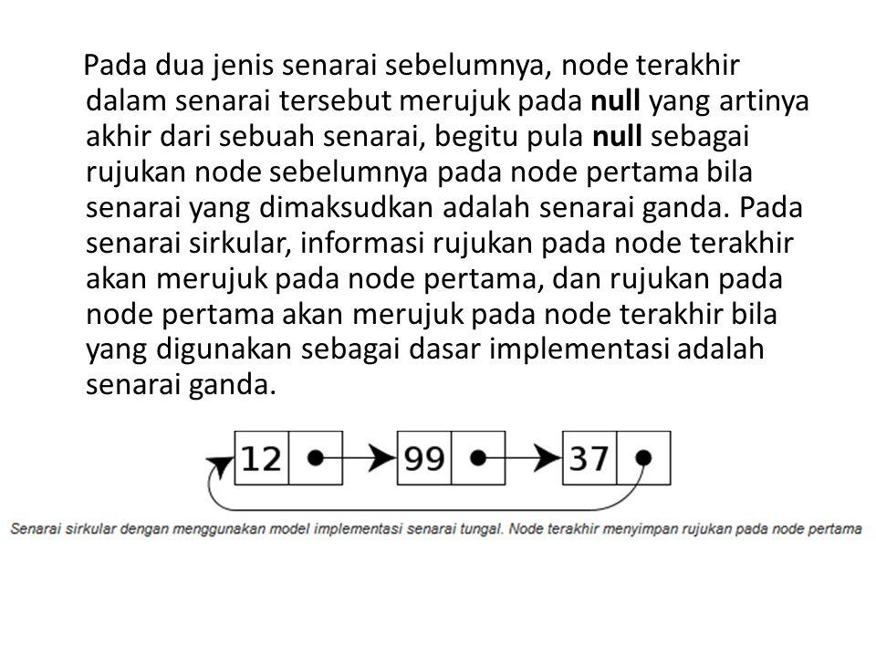Pada dua jenis senarai sebelumnya, node terakhir dalam senarai tersebut merujuk pada null yang artinya akhir dari sebuah senarai, begitu pula null seb