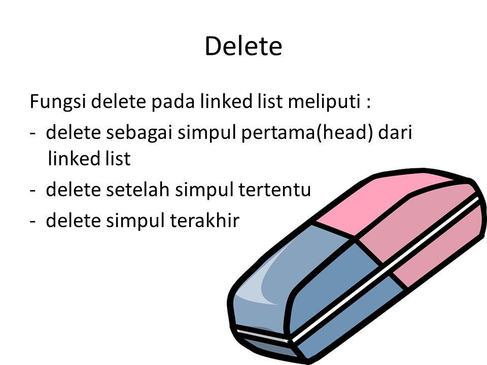 Delete Fungsi delete pada linked list meliputi : - delete sebagai simpul pertama(head) dari linked list - delete setelah simpul tertentu - delete simp