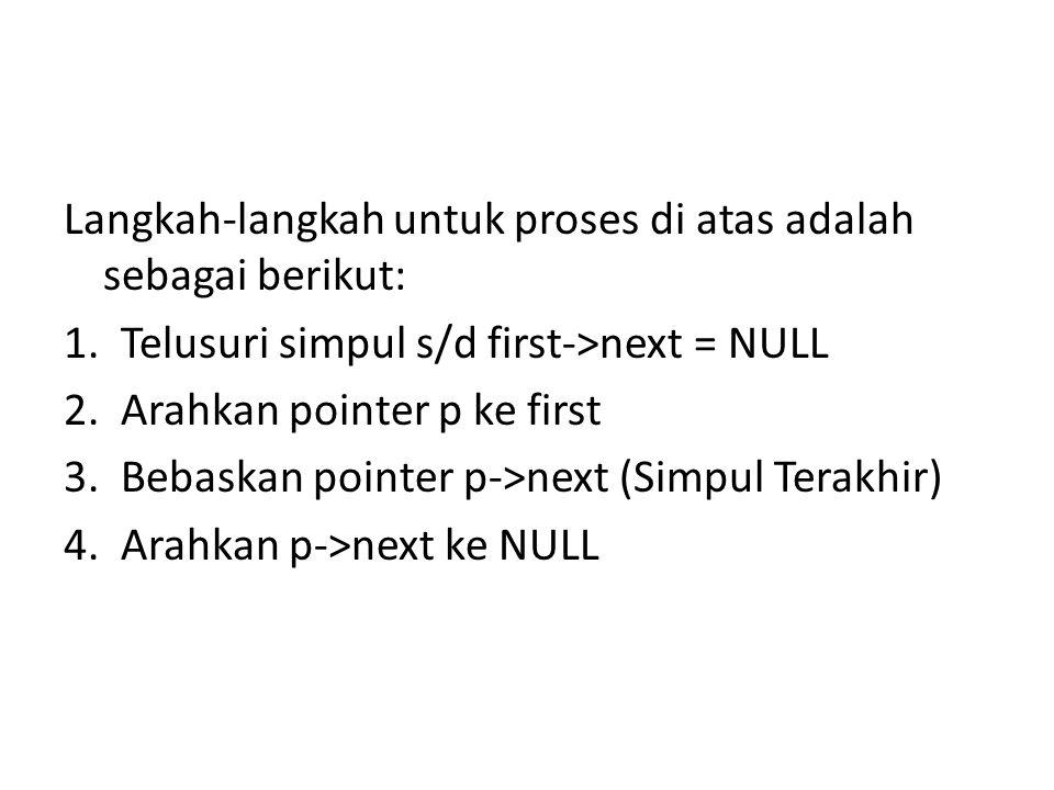 Langkah-langkah untuk proses di atas adalah sebagai berikut: 1. Telusuri simpul s/d first->next = NULL 2. Arahkan pointer p ke first 3. Bebaskan point