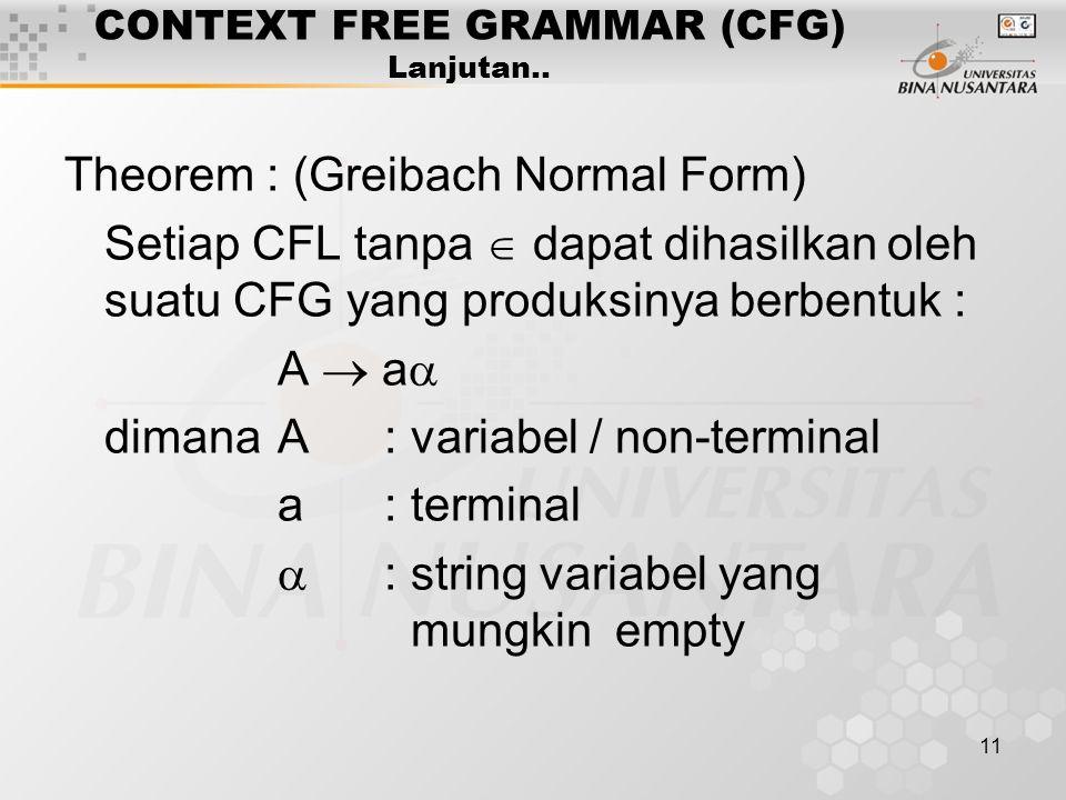 11 CONTEXT FREE GRAMMAR (CFG) Lanjutan.. Theorem : (Greibach Normal Form) Setiap CFL tanpa  dapat dihasilkan oleh suatu CFG yang produksinya berbentu