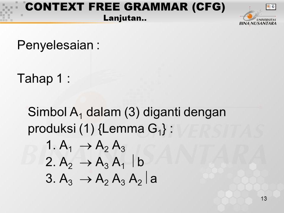13 CONTEXT FREE GRAMMAR (CFG) Lanjutan.. Penyelesaian : Tahap 1 : Simbol A 1 dalam (3) diganti dengan produksi (1) {Lemma G 1 } : 1. A 1  A 2 A 3 2.
