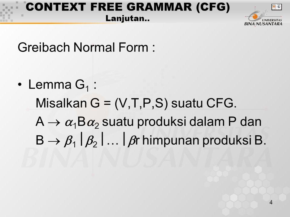 4 CONTEXT FREE GRAMMAR (CFG) Lanjutan.. Greibach Normal Form : Lemma G 1 : Misalkan G = (V,T,P,S) suatu CFG. A   1 B  2 suatu produksi dalam P dan