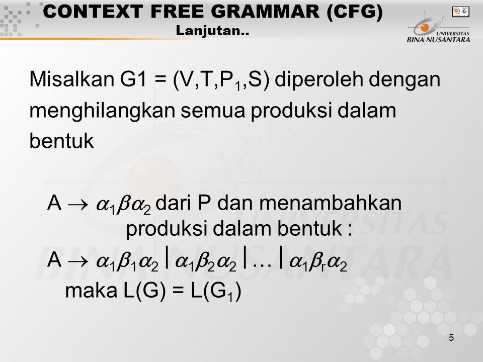5 CONTEXT FREE GRAMMAR (CFG) Lanjutan.. Misalkan G1 = (V,T,P 1,S) diperoleh dengan menghilangkan semua produksi dalam bentuk A   1  2 dari P dan m