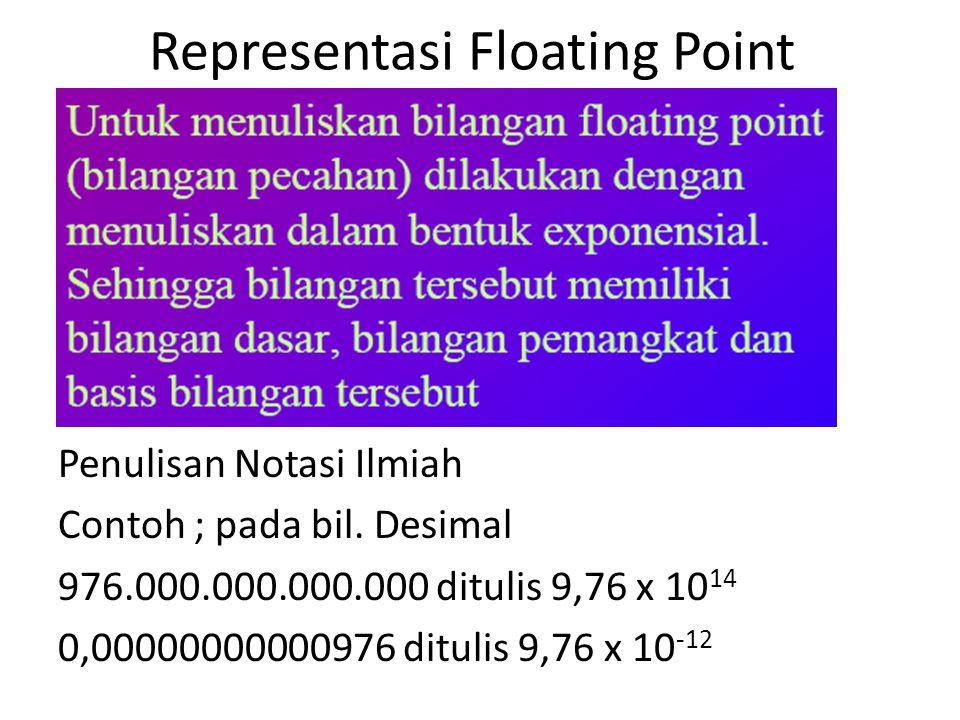 Representasi Floating Point Penulisan Notasi Ilmiah Contoh ; pada bil. Desimal 976.000.000.000.000 ditulis 9,76 x 10 14 0,00000000000976 ditulis 9,76