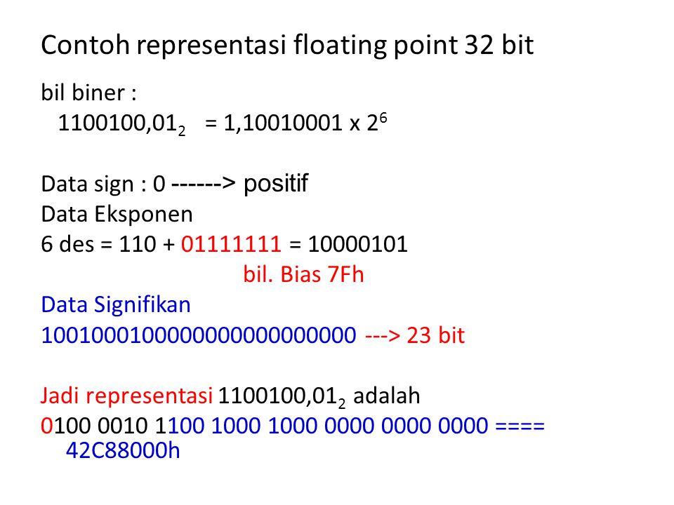Contoh representasi floating point 32 bit bil biner : 1100100,01 2 = 1,10010001 x 2 6 Data sign : 0 ------> positif Data Eksponen 6 des = 110 + 01111111 = 10000101 bil.
