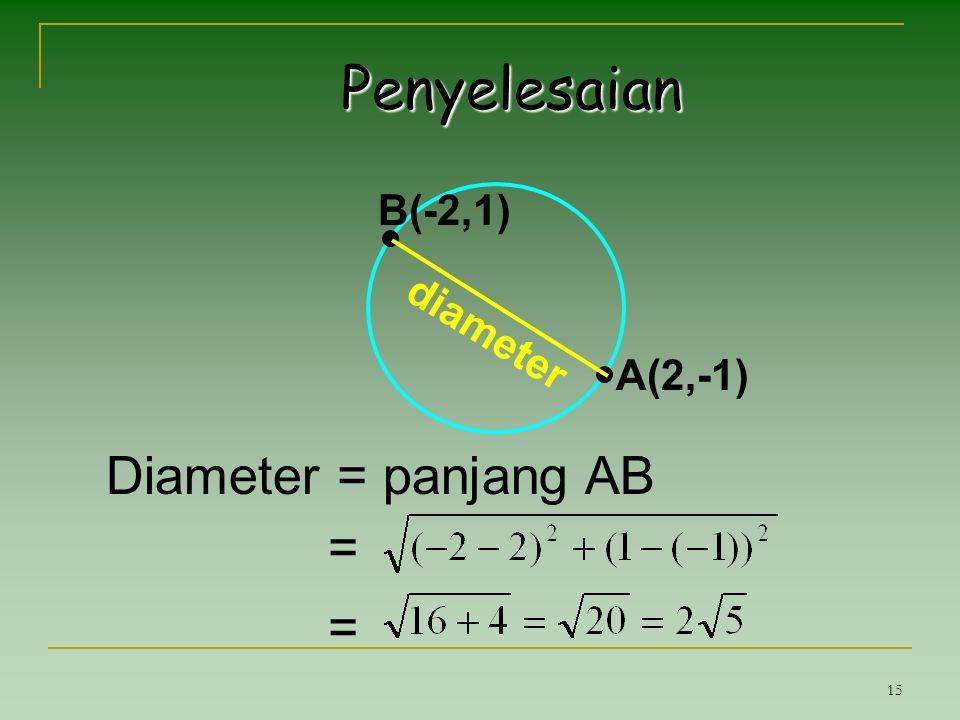 15 Penyelesaian Diameter = panjang AB = = A(2,-1) B(-2,1) diameter