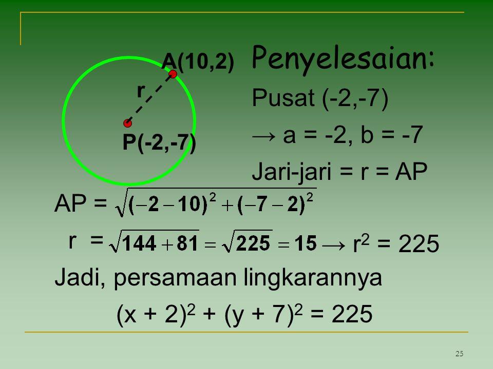 25 P(-2,-7) A(10,2) r Penyelesaian: Pusat (-2,-7) → a = -2, b = -7 Jari-jari = r = AP AP = r = Jadi, persamaan lingkarannya (x + 2) 2 + (y + 7) 2 = 22