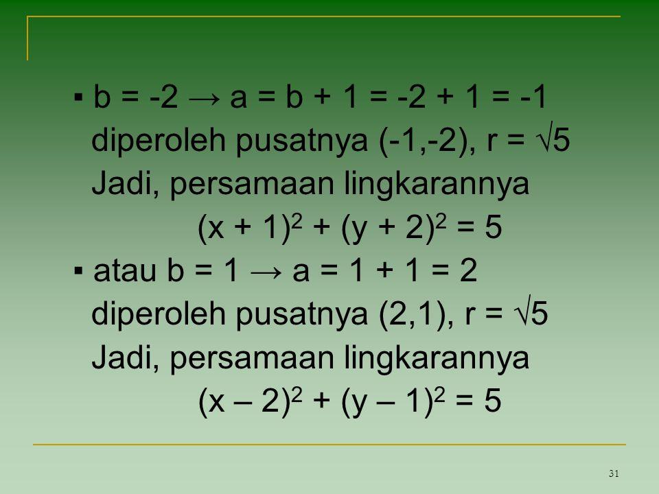 31 ▪ b = -2 → a = b + 1 = -2 + 1 = -1 diperoleh pusatnya (-1,-2), r = √5 Jadi, persamaan lingkarannya (x + 1) 2 + (y + 2) 2 = 5 ▪ atau b = 1 → a = 1 +