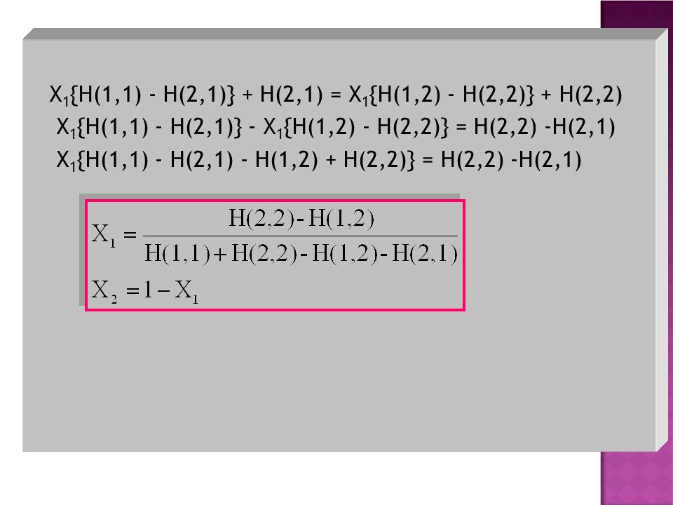 X 1 {H(1,1) - H(2,1)} + H(2,1) = X 1 {H(1,2) - H(2,2)} + H(2,2) X 1 {H(1,1) - H(2,1)} - X 1 {H(1,2) - H(2,2)} = H(2,2) -H(2,1) X 1 {H(1,1) - H(2,1) -