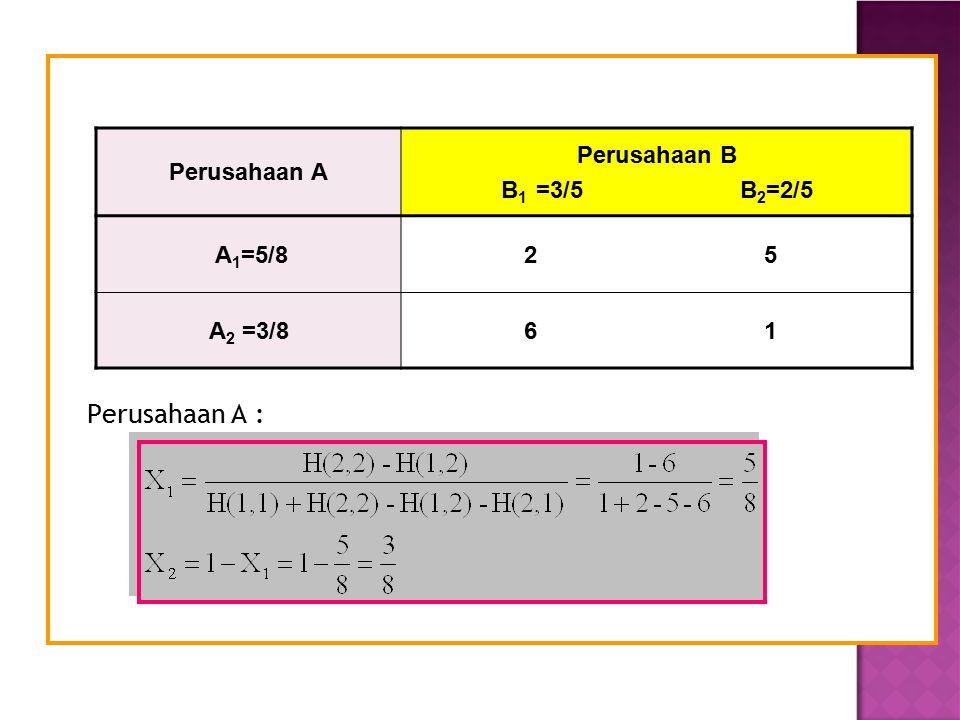 Perusahaan A : Perusahaan A Perusahaan B B 1 =3/5 B 2 =2/5 A 1 =5/8 2 5 A 2 =3/8 6 1