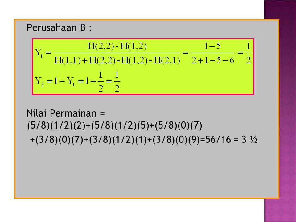 Perusahaan B : Nilai Permainan = (5/8)(1/2)(2)+(5/8)(1/2)(5)+(5/8)(0)(7) +(3/8)(0)(7)+(3/8)(1/2)(1)+(3/8)(0)(9)=56/16 = 3 ½