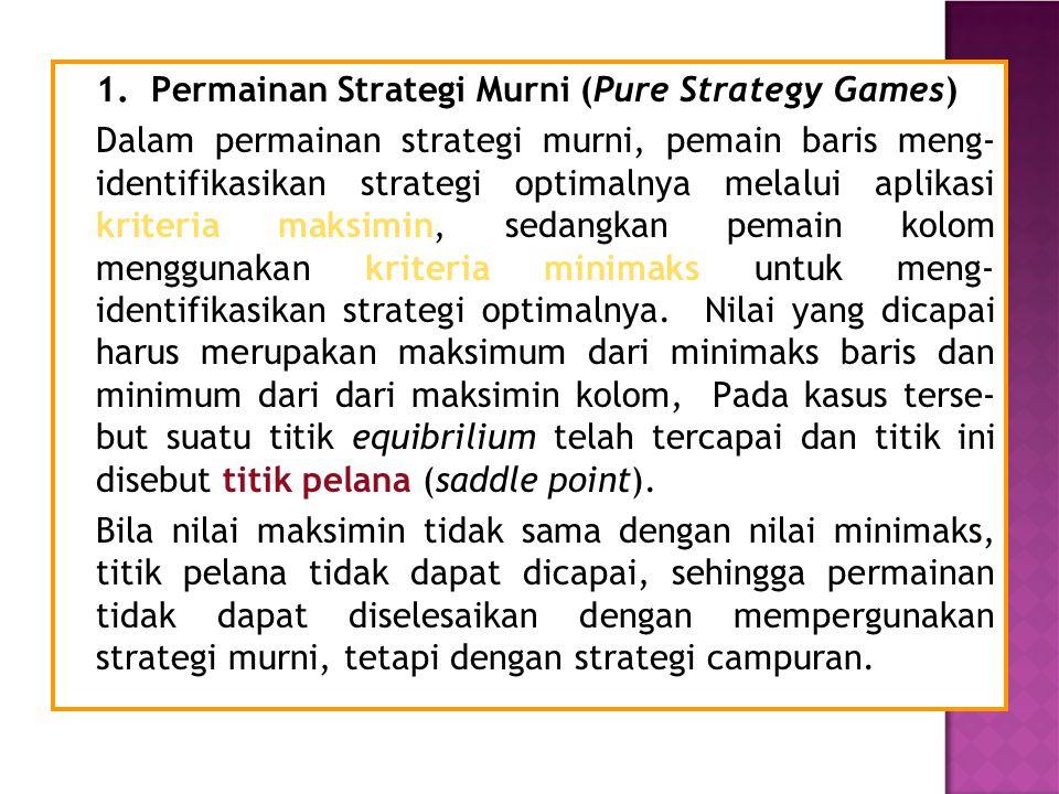 1. Permainan Strategi Murni (Pure Strategy Games) Dalam permainan strategi murni, pemain baris meng- identifikasikan strategi optimalnya melalui aplik