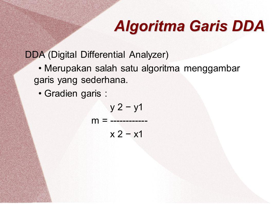Algoritma Garis DDA DDA (Digital Differential Analyzer) Merupakan salah satu algoritma menggambar garis yang sederhana. Gradien garis : y 2 − y1 m = -