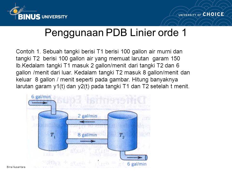 Bina Nusantara Penggunaan PDB Linier orde 1 Contoh 1. Sebuah tangki berisi T1 berisi 100 gallon air murni dan tangki T2 berisi 100 gallon air yang mem