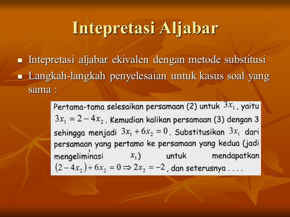 Intepretasi Aljabar Intepretasi aljabar ekivalen dengan metode substitusi Intepretasi aljabar ekivalen dengan metode substitusi Langkah-langkah penyel
