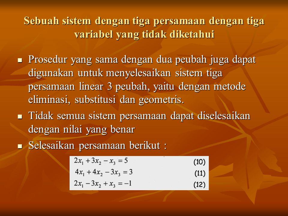 Sebuah sistem dengan tiga persamaan dengan tiga variabel yang tidak diketahui Prosedur yang sama dengan dua peubah juga dapat digunakan untuk menyeles