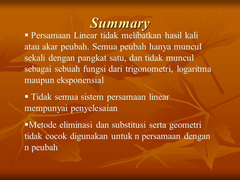 Summary  Persamaan Linear tidak melibatkan hasil kali atau akar peubah. Semua peubah hanya muncul sekali dengan pangkat satu, dan tidak muncul sebaga