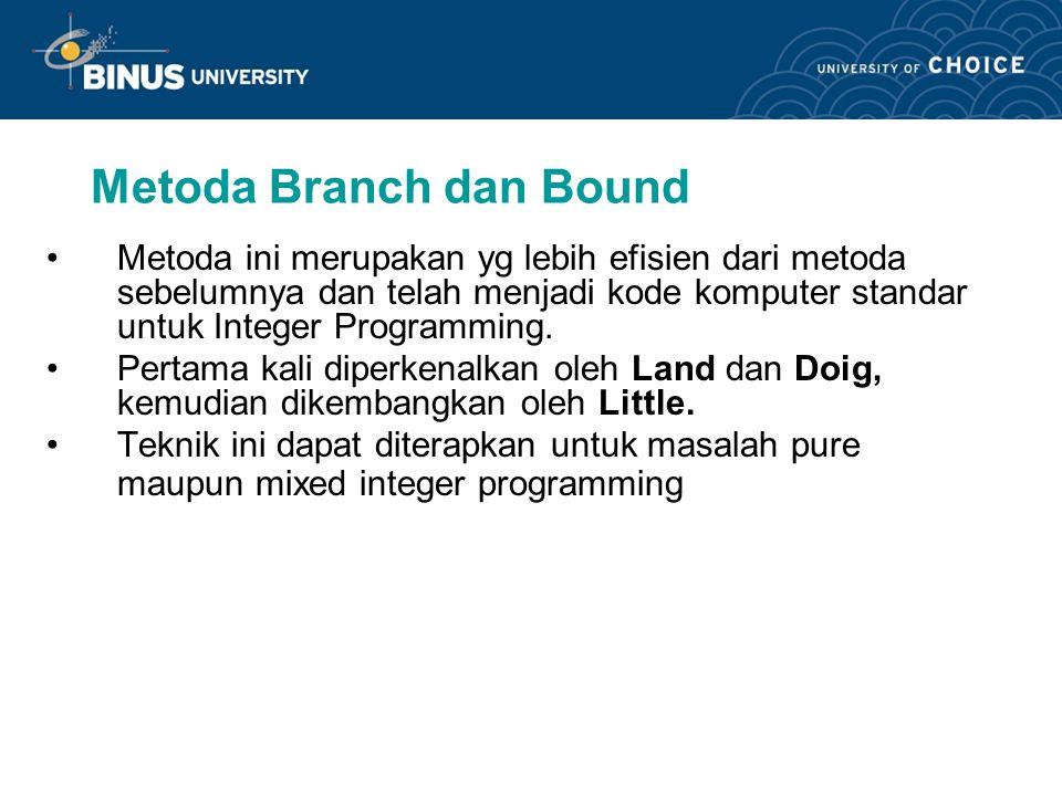 Metoda Branch dan Bound Metoda ini merupakan yg lebih efisien dari metoda sebelumnya dan telah menjadi kode komputer standar untuk Integer Programming.