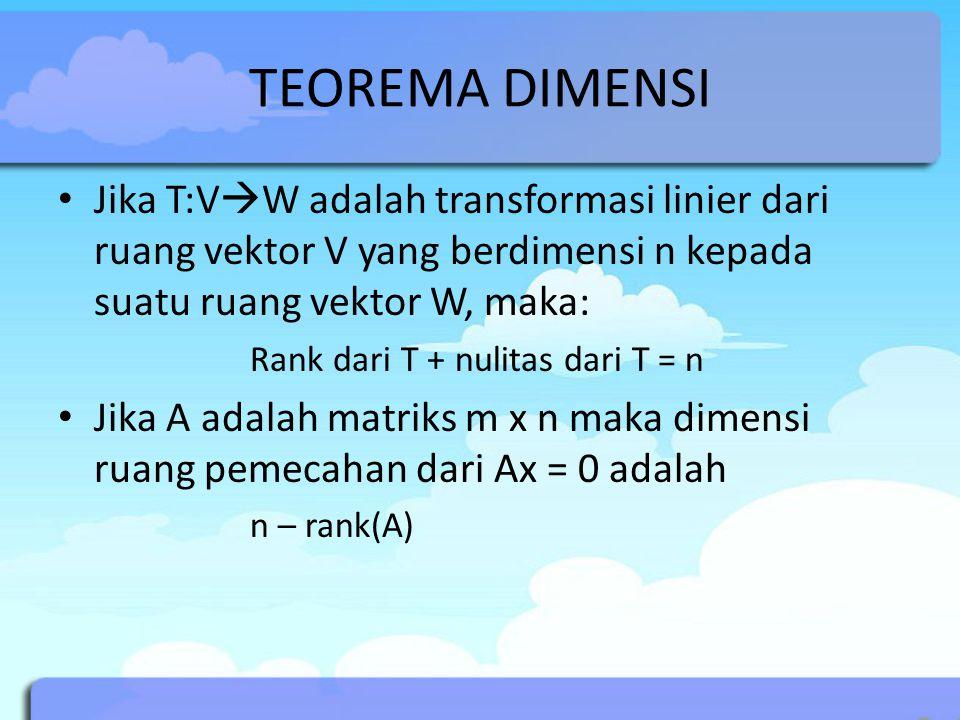 TEOREMA DIMENSI Jika T:V  W adalah transformasi linier dari ruang vektor V yang berdimensi n kepada suatu ruang vektor W, maka: Rank dari T + nulitas dari T = n Jika A adalah matriks m x n maka dimensi ruang pemecahan dari Ax = 0 adalah n – rank(A)