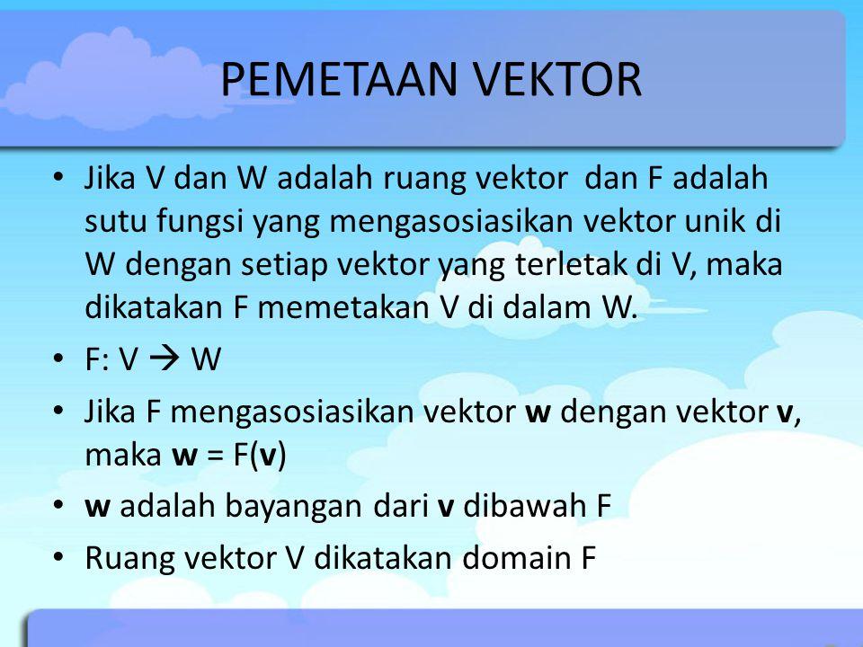 PEMETAAN VEKTOR Jika V dan W adalah ruang vektor dan F adalah sutu fungsi yang mengasosiasikan vektor unik di W dengan setiap vektor yang terletak di V, maka dikatakan F memetakan V di dalam W.