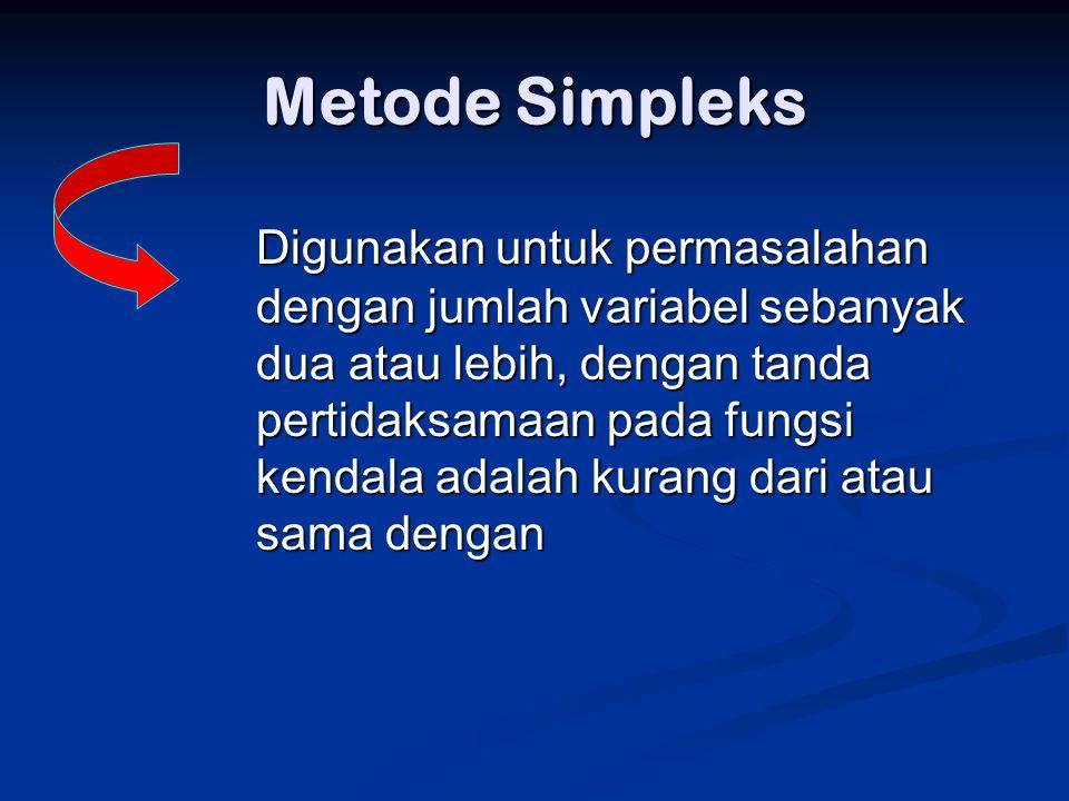 Metode Simpleks Digunakan untuk permasalahan dengan jumlah variabel sebanyak dua atau lebih, dengan tanda pertidaksamaan pada fungsi kendala adalah ku
