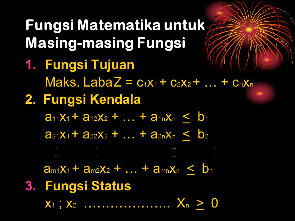 Fungsi Matematika untuk Masing-masing Fungsi 1.Fungsi Tujuan Maks. LabaZ = c 1 x 1 + c 2 x 2 + … + c n x n 2. Fungsi Kendala a 11 x 1 + a 12 x 2 + … +