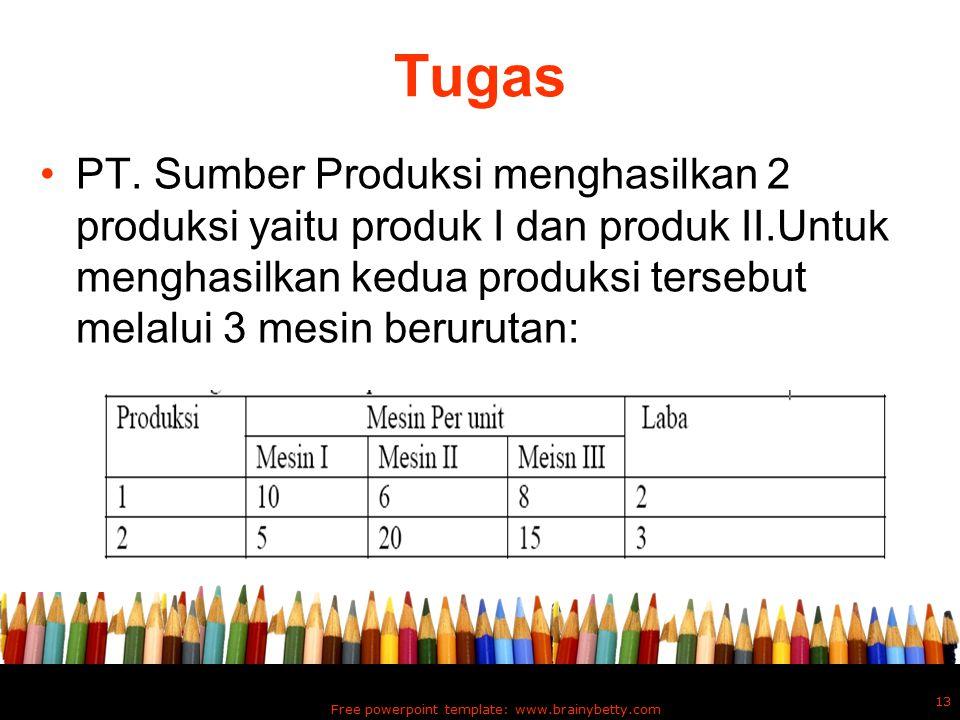 Tugas PT. Sumber Produksi menghasilkan 2 produksi yaitu produk I dan produk II.Untuk menghasilkan kedua produksi tersebut melalui 3 mesin berurutan: F