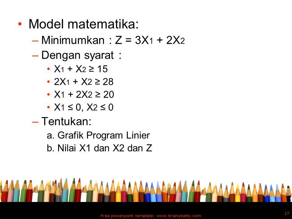 Model matematika: –Minimumkan : Z = 3X 1 + 2X 2 –Dengan syarat : X 1 + X 2 ≥ 15 2X 1 + X 2 ≥ 28 X 1 + 2X 2 ≥ 20 X 1 ≤ 0, X 2 ≤ 0 –Tentukan: a. Grafik
