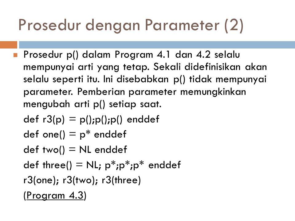 Prosedur dengan Parameter (2) Prosedur p() dalam Program 4.1 dan 4.2 selalu mempunyai arti yang tetap. Sekali didefinisikan akan selalu seperti itu. I