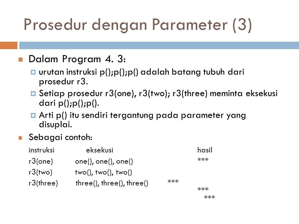 Prosedur dengan Parameter (3) Dalam Program 4. 3:  urutan instruksi p();p();p() adalah batang tubuh dari prosedur r3.  Setiap prosedur r3(one), r3(t