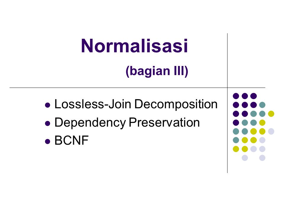 Normalisasi (bagian III) Lossless-Join Decomposition Dependency Preservation BCNF