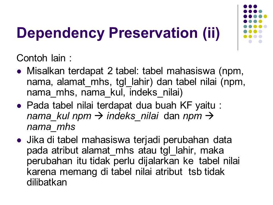 Dependency Preservation (ii) Contoh lain : Misalkan terdapat 2 tabel: tabel mahasiswa (npm, nama, alamat_mhs, tgl_lahir) dan tabel nilai (npm, nama_mhs, nama_kul, indeks_nilai) Pada tabel nilai terdapat dua buah KF yaitu : nama_kul npm  indeks_nilai dan npm  nama_mhs Jika di tabel mahasiswa terjadi perubahan data pada atribut alamat_mhs atau tgl_lahir, maka perubahan itu tidak perlu dijalarkan ke tabel nilai karena memang di tabel nilai atribut tsb tidak dilibatkan