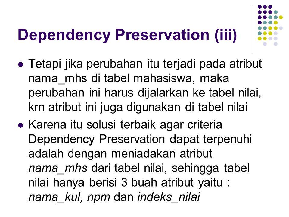 Dependency Preservation (iii) Tetapi jika perubahan itu terjadi pada atribut nama_mhs di tabel mahasiswa, maka perubahan ini harus dijalarkan ke tabel nilai, krn atribut ini juga digunakan di tabel nilai Karena itu solusi terbaik agar criteria Dependency Preservation dapat terpenuhi adalah dengan meniadakan atribut nama_mhs dari tabel nilai, sehingga tabel nilai hanya berisi 3 buah atribut yaitu : nama_kul, npm dan indeks_nilai