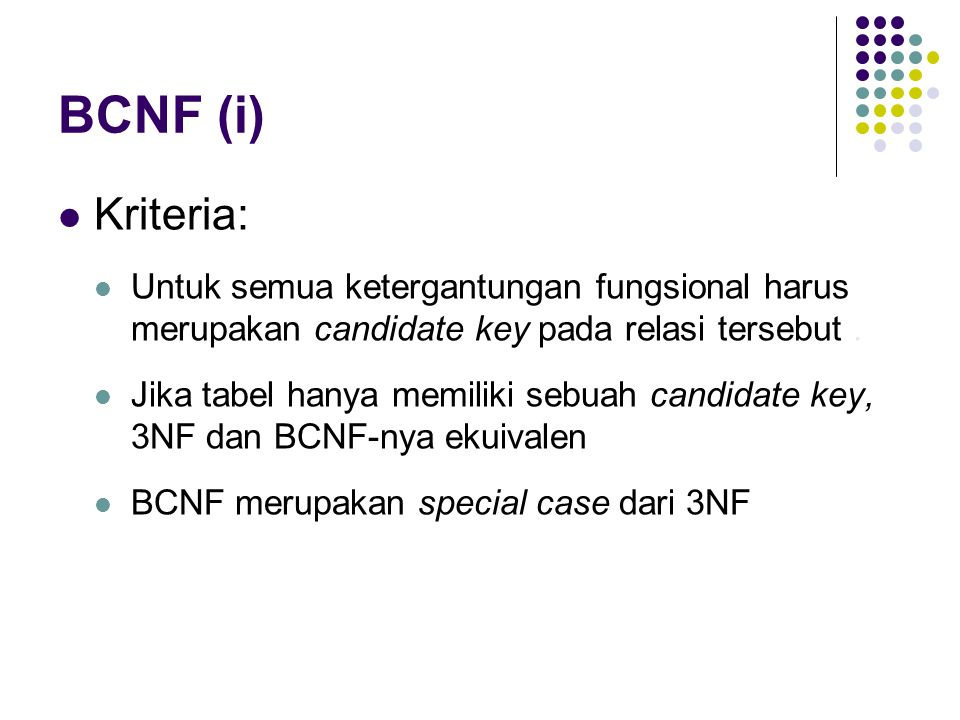 BCNF (i) Kriteria: Untuk semua ketergantungan fungsional harus merupakan candidate key pada relasi tersebut.