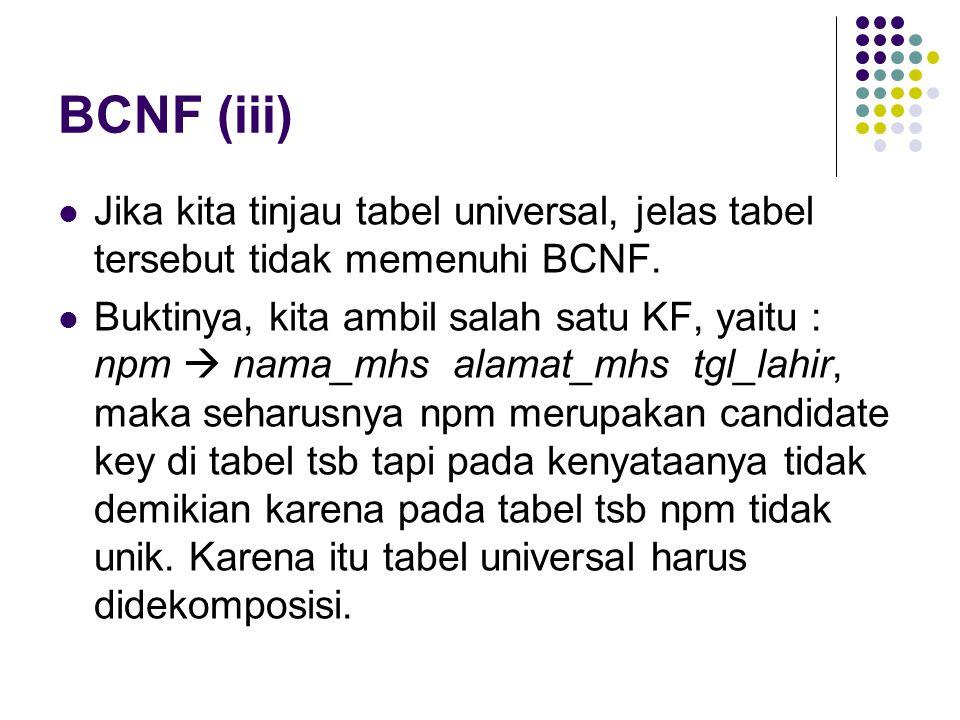 BCNF (iii) Jika kita tinjau tabel universal, jelas tabel tersebut tidak memenuhi BCNF.