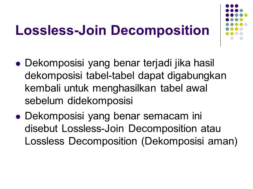Lossless-Join Decomposition Dekomposisi yang benar terjadi jika hasil dekomposisi tabel-tabel dapat digabungkan kembali untuk menghasilkan tabel awal sebelum didekomposisi Dekomposisi yang benar semacam ini disebut Lossless-Join Decomposition atau Lossless Decomposition (Dekomposisi aman)