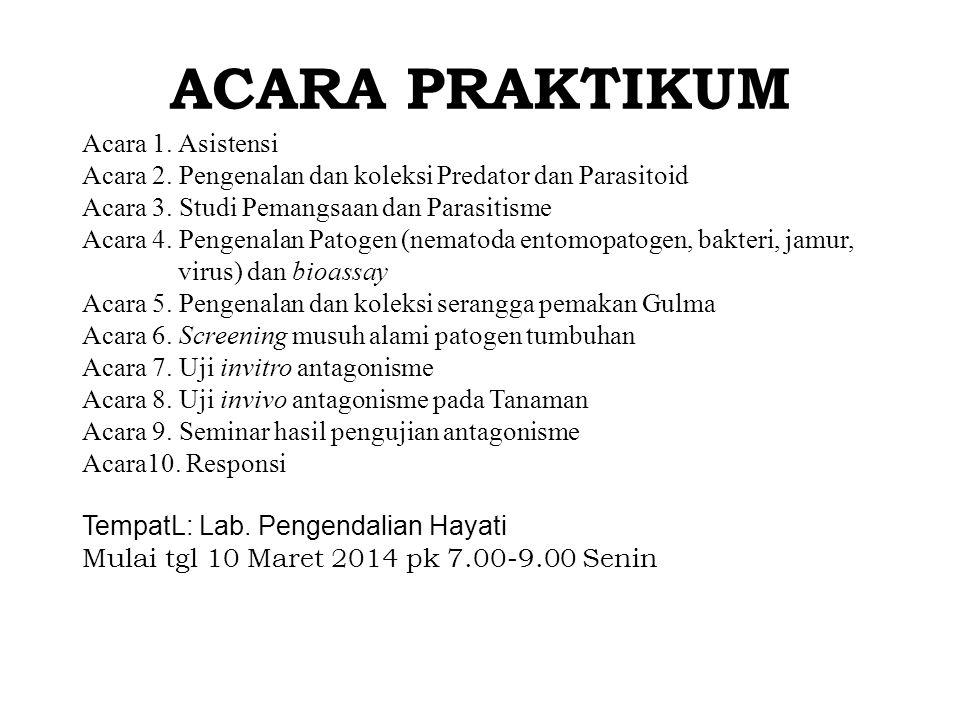 ACARA PRAKTIKUM Acara 1.Asistensi Acara 2. Pengenalan dan koleksi Predator dan Parasitoid Acara 3.