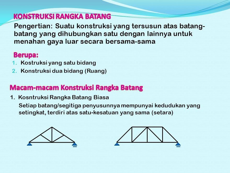 Pengertian: Suatu konstruksi yang tersusun atas batang- batang yang dihubungkan satu dengan lainnya untuk menahan gaya luar secara bersama-sama 1. Kos