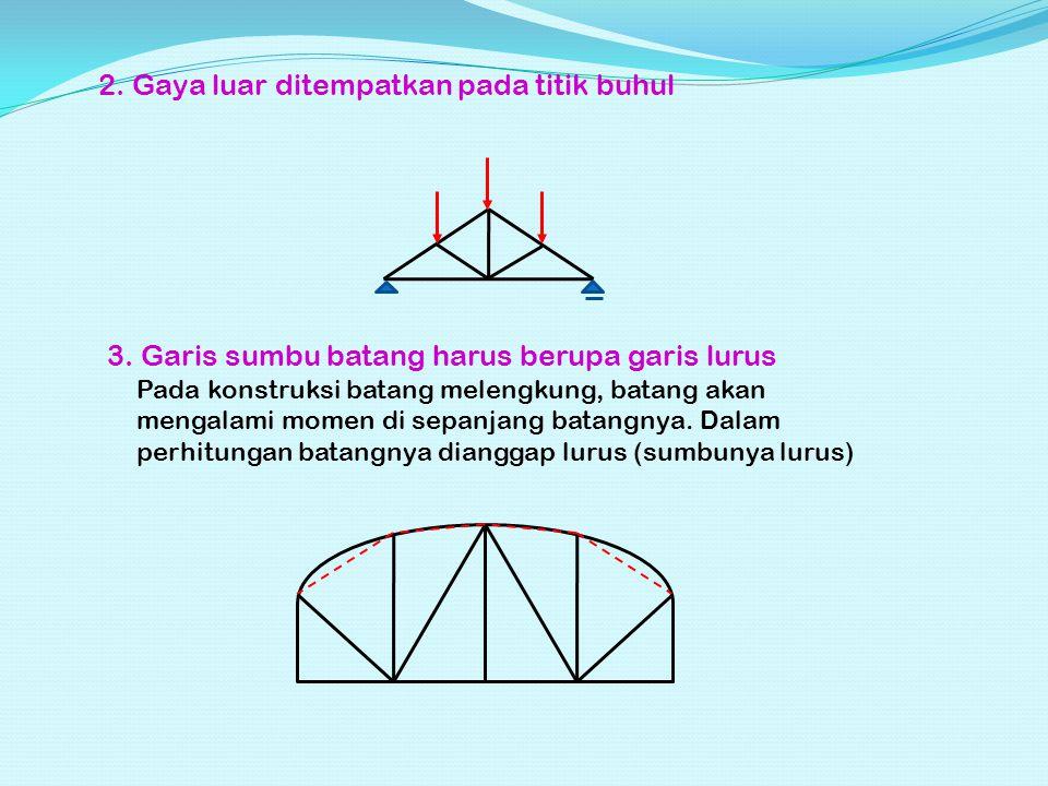 PRINSIP: Konstruksi rangka batang secara utuh, disyaratkan dalam keadaan seimbang, maka untuk mencapai keseimbangan tersebut pada setiap titik buhul gaya-gaya yang bekerja harus seimbang ∑ G x = 0 ∑ G y = 0 1.