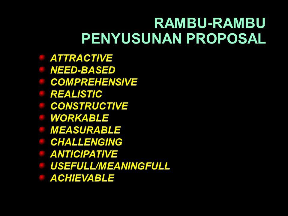 RAMBU-RAMBU PENYUSUNAN PROPOSAL ATTRACTIVE NEED-BASED COMPREHENSIVE REALISTIC CONSTRUCTIVE WORKABLE MEASURABLE CHALLENGING ANTICIPATIVE USEFULL/MEANINGFULL ACHIEVABLE