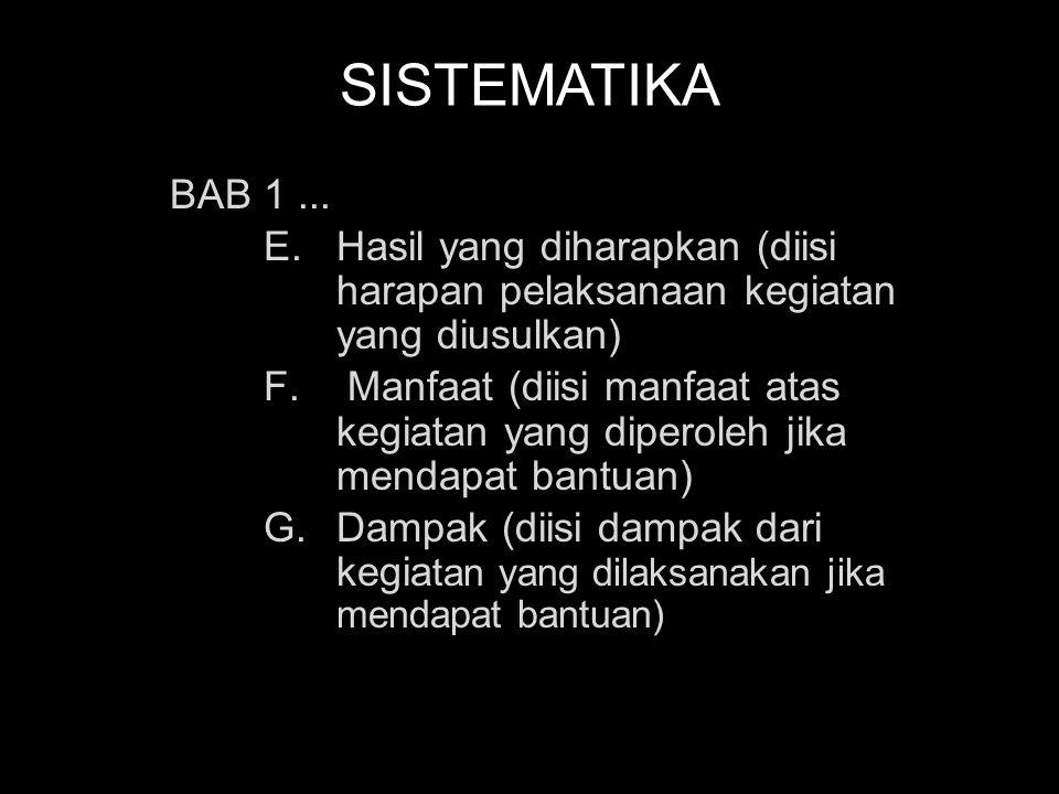 SISTEMATIKA BAB II PELAKSANAAN PROGRAM A.