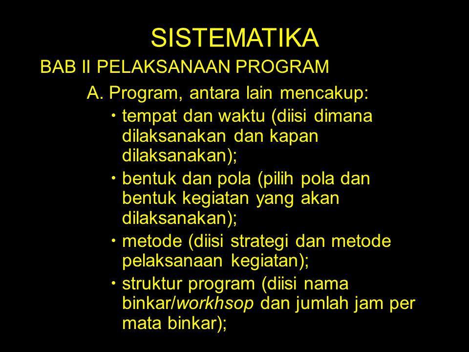 SISTEMATIKA BAB II PELAKSANAAN PROGRAM A. Program, antara lain mencakup:  tempat dan waktu (diisi dimana dilaksanakan dan kapan dilaksanakan);  bent