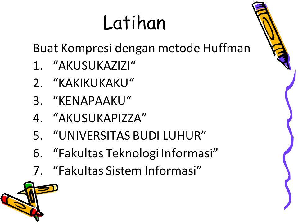 Latihan Buat Kompresi dengan metode Huffman 1. AKUSUKAZIZI 2. KAKIKUKAKU 3. KENAPAAKU 4. AKUSUKAPIZZA 5. UNIVERSITAS BUDI LUHUR 6. Fakultas Teknologi Informasi 7. Fakultas Sistem Informasi
